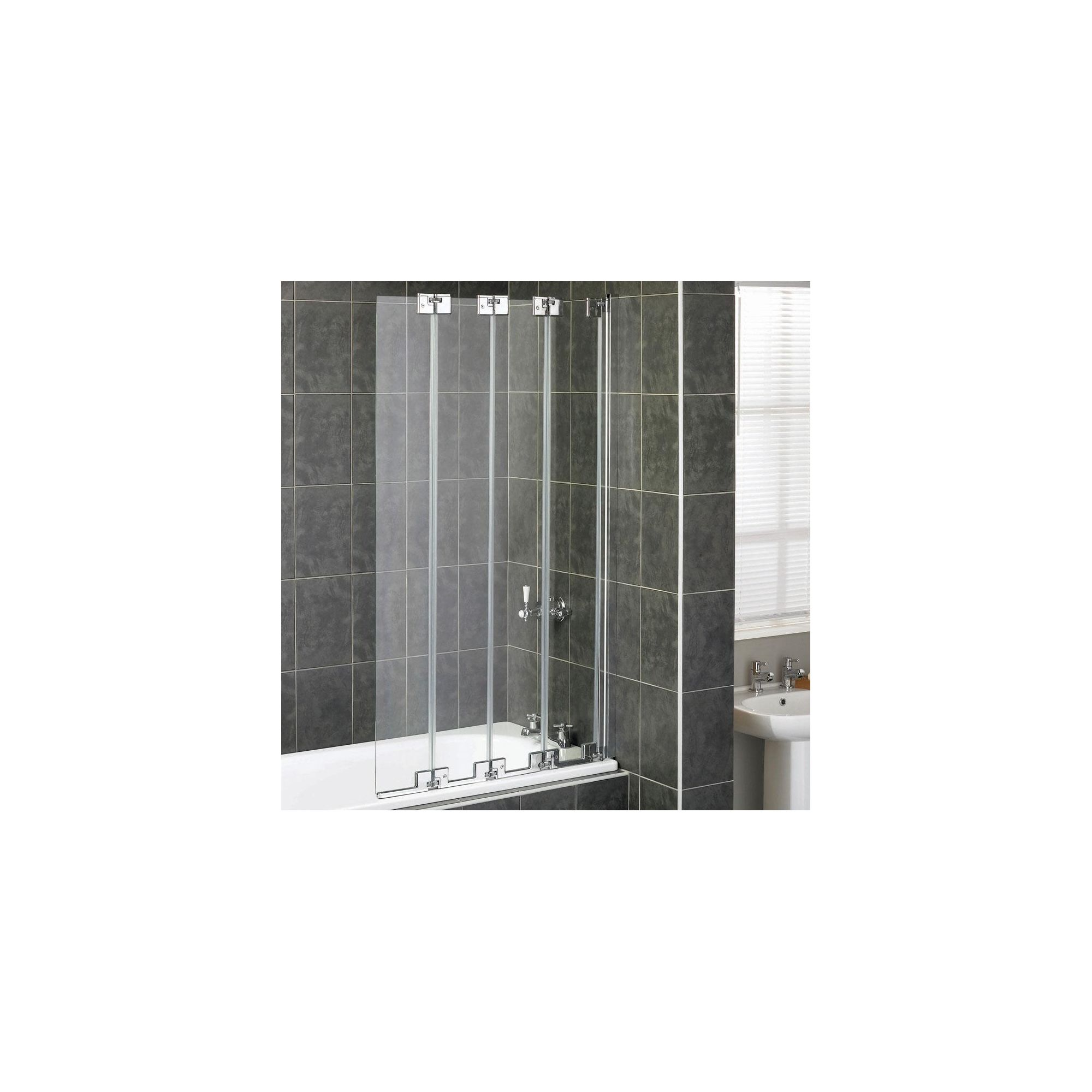 Aqualux AQUA6 4-Fold Bath Screen, 850mm Wide, Polished Silver Frame, 6mm Glass at Tesco Direct