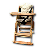 Safetots Folding Wooden Highchair Natural with Cream Cushion