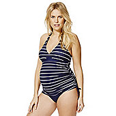 F&F Striped Halterneck Maternity Tankini Swimsuit - Navy