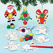 Christmas Colour-in Pom Pom Decorations (12 Pcs)