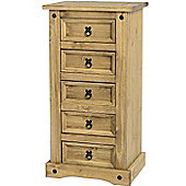 Corona Mexican 5 Drawer Narrow Chest Distressed Waxed Pine