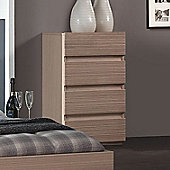 Sleepline Diva 4 Drawer Narrow Chest - Grey Mat Lacquered