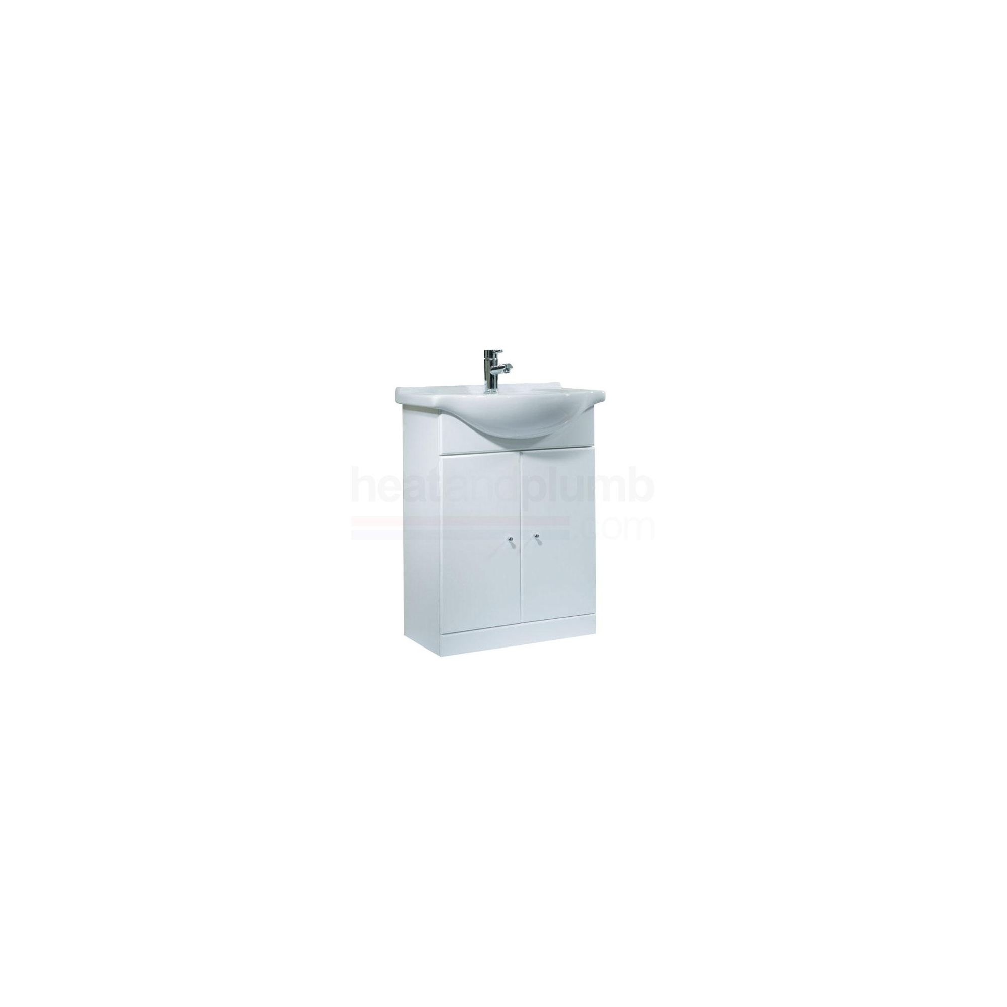 Tavistock Meridian White Twin Door Cabinet and Basin - 1 Tap Hole - 650mm Wide