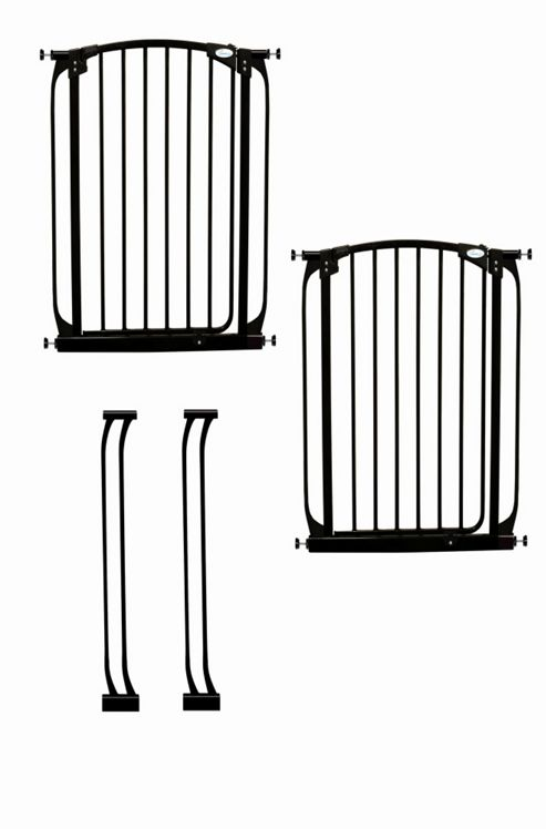 Dream Baby Extra-Tall Swing Close Security Gate Value Pack - Black