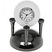 Golf - Metal Golf Ball + Tee Clock Ornament - White / Grey