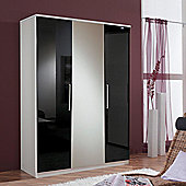 Amos Mann furniture Milano 3 Door Wardrobe - Black and White