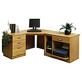 Enduro Home Office Corner Desk / Workstation with Pedestal and Printer / CPU Storage - English Oak