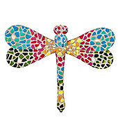 Multi-coloured Mosaic Finish Dragonfly Wall Mountable Insect Garden Ornament