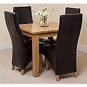 Oslo Solid Oak 90 cm Dining Table with 4 Ivory Lola Leather Chairs