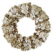 Gold Glitter Bark & Pine Cone 30cm Christmas Wreath