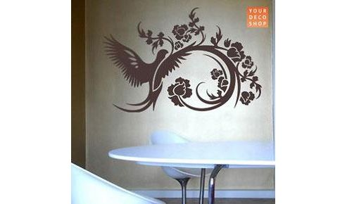 Floral Dove Wall Sticker, Black