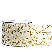 Ribbon Wired Edge - 2.5inches x 10y - Cream & Gold Glitter