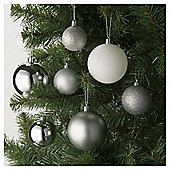 Festive Shatterproof Christmas Bauble Pack, Silver Mix, 94 Piece