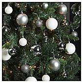 Christmas Baubles, Silver, 94 pack