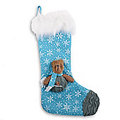Knitted & Fabric Finish Christmas Stockings With Bears - Blue