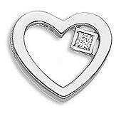 Jewelco London 9 Carat Yellow Gold 10pts Princess Cut Diamond Heart Pendant