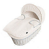 Isabella Alicia White Wicker Moses Basket (Dimple Cream)