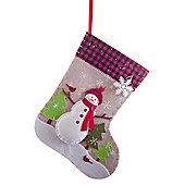 Felt Christmas 50cm Stocking with Coloured Snowman Scene