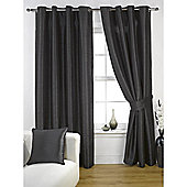 KLiving Ravello Faux Silk Eyelet Lined Curtain 65x54 Inches Black