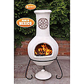 Extra-Large Mexican Chimenea Cruz in beige with Cappucino Motive With Stand & Lid