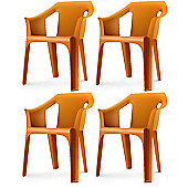 "Resol ""Cool"" Garden Outdoor / Indoor Designer Plastic Chairs - Orange - x4"