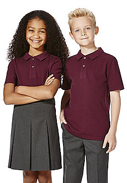 F&F School 2 Pack of Unisex Polo Shirts with As New Technology - Burgundy