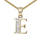 Jewelco London 9 Carat Yellow Gold Elegant Diamond-Set Pendant on an 18 inch Pendant Chain Necklace - Inital E