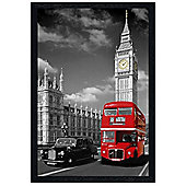Iconic London View Black Wooden Framed Piccadilly Bus and Black Cab Poster