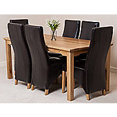 Aspen Solid Oak 180 cm Dining Table with 6 Lola Leather Leather chairs (Brown)