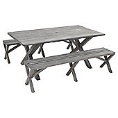 Whitstable Wooden 3-piece Garden Bench & Table Set with Separate Benches