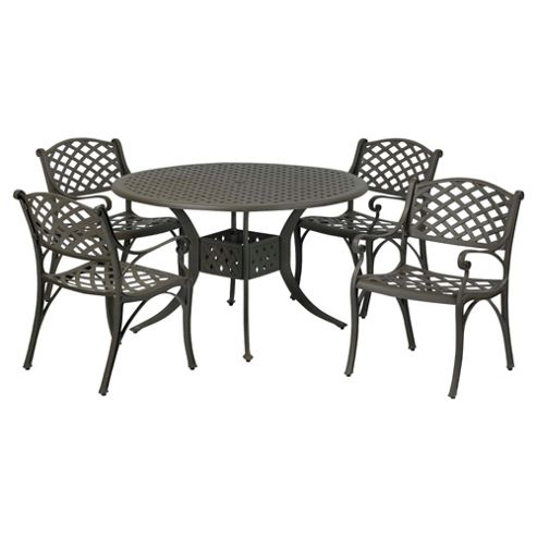 Eclipse Cast Aluminium Round Dining Set - 120cm