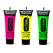 PaintGlow Set of 3 Body Paints -Pink,Yellow, Green