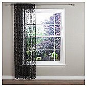 "Regency Voile Slot Top Curtains W137xL122cm (54x48""), Black"
