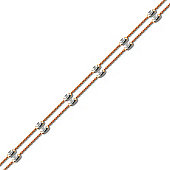 Rhodium & Rose Coated Sterling Silver Raindrop Bead Anklet - 10 inch