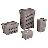 Tontarelli Arianna Bathroom Set - Hamper, Basket, Bin & Vanity Case Mole