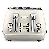 Delonghi CTI4003 4-Slice Toaster, 1800w Power, Reheat Function in White