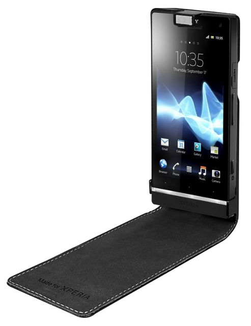 Sony Original Leather Flip Case for Xperia S - Black