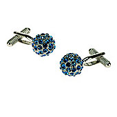 Saphire Blue Crystal Ball Cufflinks