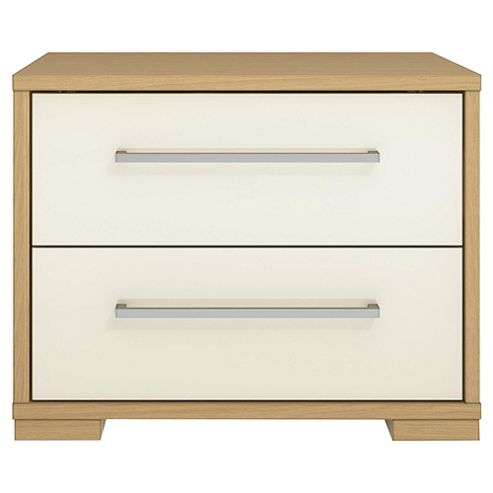 Adria Oak 2 Drawer Chest With Ivory Gloss Drawers