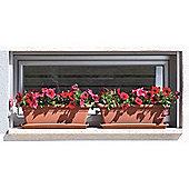 Floreira Veneza Plant Box 80cm Terracotta - set of 2 plus saucers