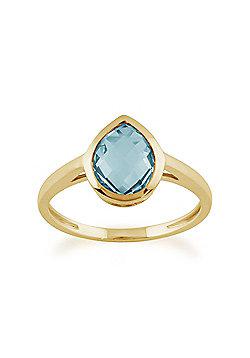 Gemondo 9ct Yellow Gold 1.96ct Pear Blue Topaz Luminosity Ring