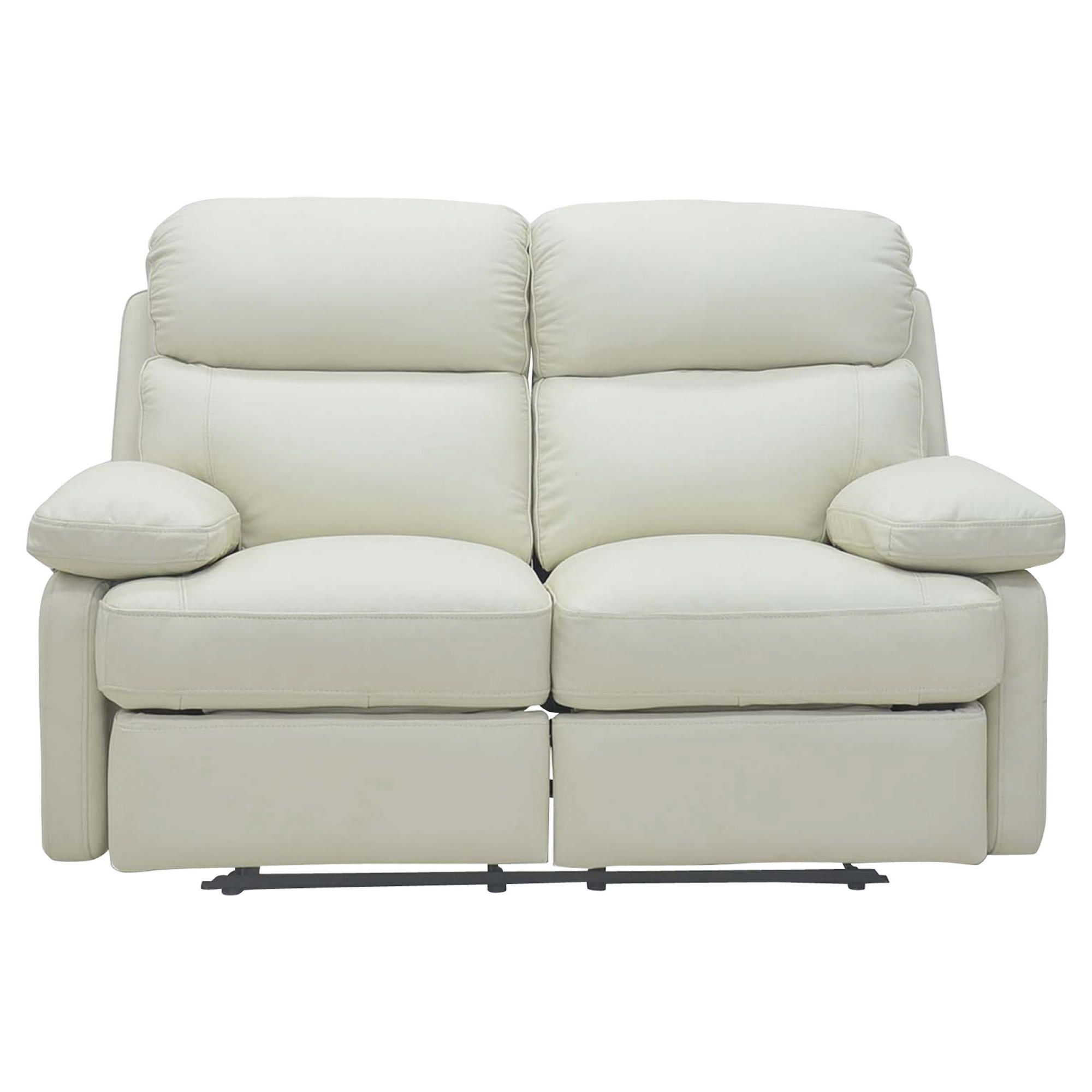 Cordova Leather Small Recliner Sofa Ivory at Tesco Direct
