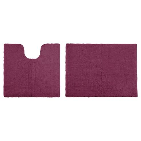 Tesco Reversible Pedestal And Bath Mat Set Aubergine