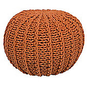 Kaikoo Knitted Ribbed Pouffe, Orange