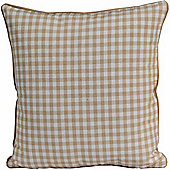 Homescapes Cotton Gingham Check Beige Scatter Cushion, 45 x 45 cm
