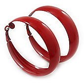 Wide Medium Dark Red Enamel Hoop Earrings - 55mm Diameter