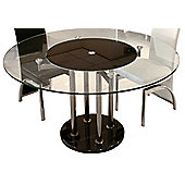 Home Essence Signature Round Lazy Susan Dining Table with Black Centre - 130cm