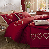 Catherine Lansfield Home Fine Luxury Collection Decorative Hearts Super King Duvet Cover Set Red