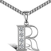 Jewelco London Sterling Silver Cubic Zirconia Identity Pendant - Initial R - 18inch Chain