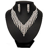 Bridal Clear Swarovski Crystal Bib Necklace & Drop Earrings Set In Silver Plating